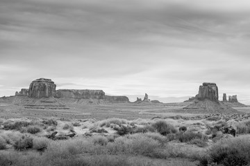 Overlooking Monument Valley Utah USA in Black and White Under Cloudy Dramatic Desert Sky