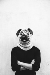 Man with a dog mask