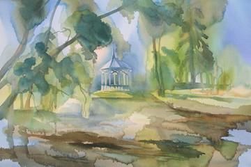 park in autumn watercolor landscape