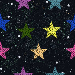 Cute Star Background. Seamless Pattern with stars. Vector Illustration.