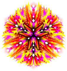 Fantasy flower ornament done in kaleidoscopic style. Stylized illustration flame of fire. Geometric circle image.