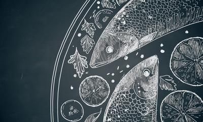 Fish dish scribble