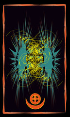 Tarot cards - back design, symbol of  sun-god Ashur and  moon god Sin in Mesopotamia