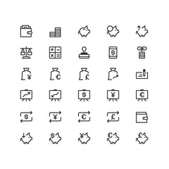 Minimal icon set of Bank and Finance Vector Line Icons Collection , good choice to use for website project , Ui and Ux design, mobile app and more. All vector icons based on 32px grid.