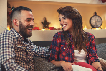Christmas couple at home