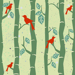 Seamless Tree Pattern with big birds and leaves. Vector Illustration.