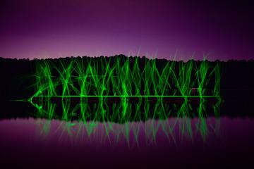 Illuminated Symmetry Reflected on the Lake