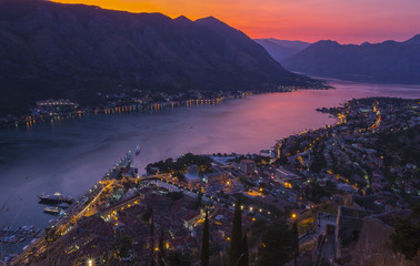 Montenegro. the city of Kotor. Evening. View of the old town.