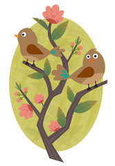 Birds On Branch - Clip-art of two birds standing on a blooming branch. Eps10