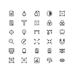 Minimal icon set of  Art and Design Vector Line Icons Collection , good choice to use for website project , Ui and Ux design, mobile app and more. All vector icons based on 32px grid.