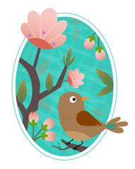 Bird Clip-art - Cute bird standing on a blooming branch. Eps10