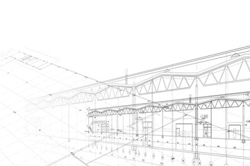 Background -architectural drawing of industrial building