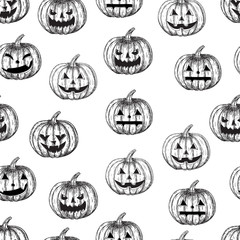 Halloween seamless background pumpkin with different facial expressions, vector illustration