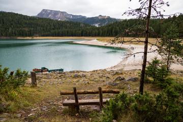 A beautiful mountain lake on a cloudy day. Black Lake Montenegro