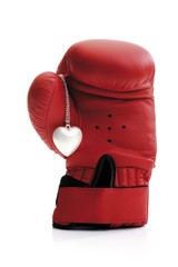Red boxing glove and heart necklace