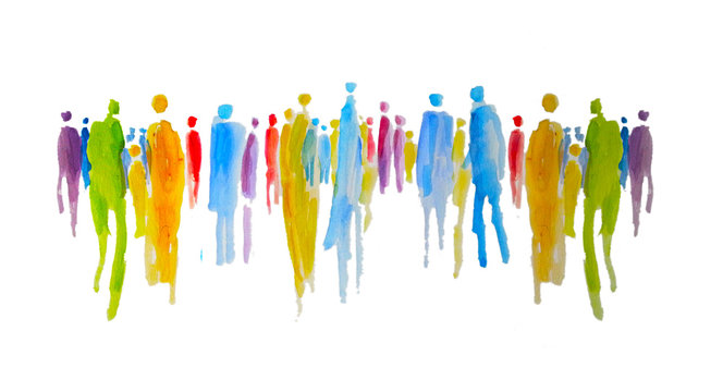 Silhouette von vielen bunten Menschen in einer Gruppe, Menschengruppe, Zusammenhalt und Gemeinschaft, Vielfalt, Gerechtigkeit, Solidarität, gemeinsam Stärke zeigen