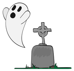 Ghost coming up from a gravestone.