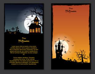 Halloween vector set vertical banner cartoon background ( pumpkin , children , party )