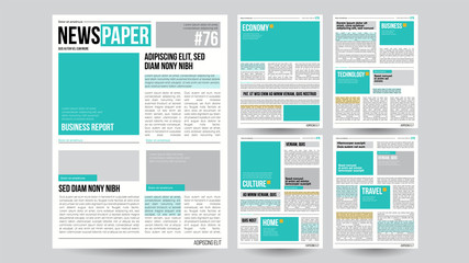 Newspaper Template Vector. Financial Articles, Business Information. Opening Editable Headlines Text Articles. Realistic Isolated Illustration Wall mural