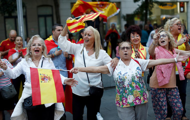 A group of pro-union supporters demonstrate in a square in Sabadell, Calatonia
