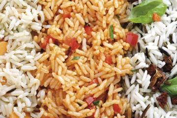 Various kinds of rice: brown rice, duvec rice and wild rice