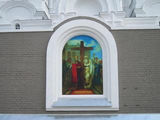 Картина на религиозную тему на стене православного храма