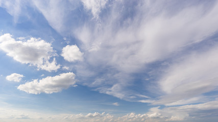 Blauer Himmel mit verschiedenen Wolken