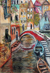Venice streets colorful fine art oil  painting
