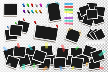 Set of realistic vector square frames, pins and paper stickers on transparent background. Vector illustration Wall mural
