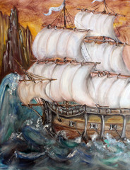 Sailship in storm fine art oil painting