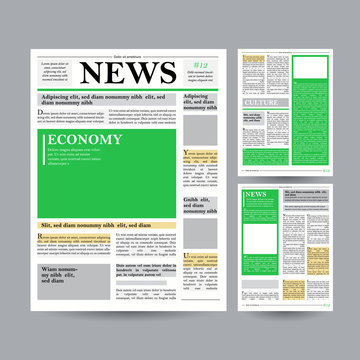 Newspaper Design Template Vector. Financial Articles, Advertising Business Information. World News Economy Headlines. Blank Spaces For Images. Isolated Illustration