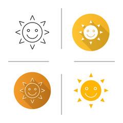 Happy and funny sun smile icon