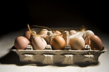 Eggs in a carton with feathers and straw