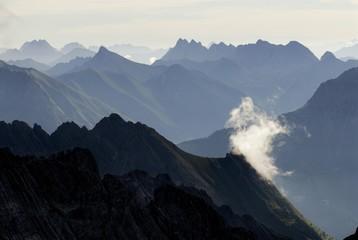 View of the Lechtal Alps, Lechtal (Lech Valley), Holzgau, Tirol, Austria, Europe