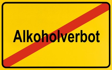 Sign, end of city, as symbol for ending alcohol bans or Alkoholverbots