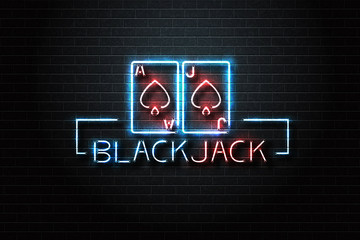 Vector realistic isolated neon sign logo with Blackjack cards and lettering for decoration and covering on the wall background. Concept of casino and gambling.