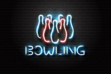 Vector realistic isolated neon sign of bowling for decoration and covering on the wall background. Concept of game sport.