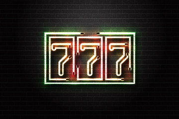 Vector realistic isolated neon sign of 777 slot machine for decoration and covering on the wall background. Concept of casino.