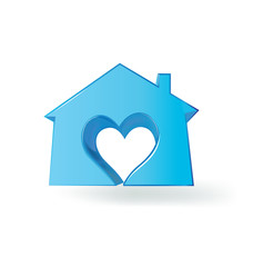 Logo blue house with a heart love vector image