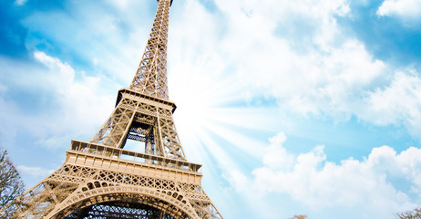 Fototapete - Sky Colors over Eiffel Tower, Paris