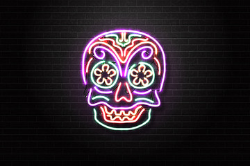 Vector realistic isolated neon sign of skull of Dia De Muertos for decoration and covering on the wall background. Concept of Happy Day of the Dead in Mexico.