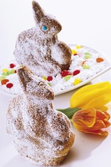 Sponge cakes in the shape of Easter bunnies