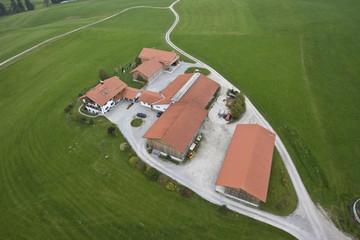 Typical farm, aerial view, Oberallgaeu, Bavaria, Germany, Europe