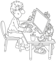 Computer user at work