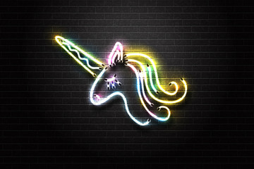 Vector realistic isolated neon retro sign of unicorn for decoration and covering on the wall background.