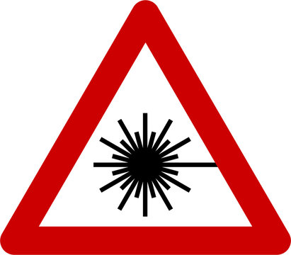 Warning sign with laser beam
