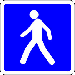 Pedestrian allowed road sign