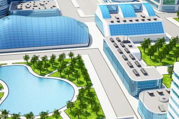 3D illustration of Sci fi futuristic future city with trees and lake
