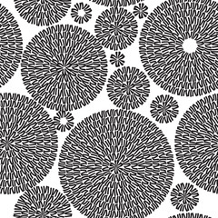 Embroidery Seamless Pattern Ornament with Black Circles on a White Background. Vector Illustration