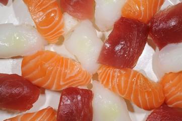 Nigiri Sushi with salmon, tuna and devilfish